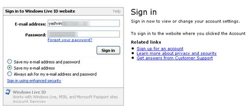 Sign into windows live web site
