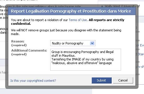 Report Group to Facebook