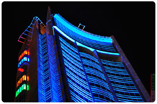 Splendid lighting of the Bank of Mauritius building