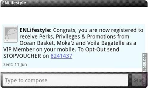 Ocean Basket SMS