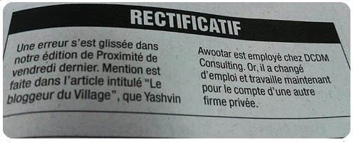 Rectificatif