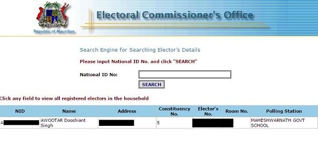 Electoral Main Search
