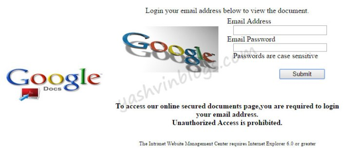 Phishing login page