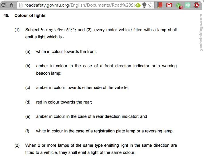 color of lights as per the law