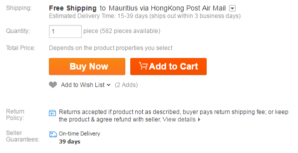 AliExpress shipping to Mauritius