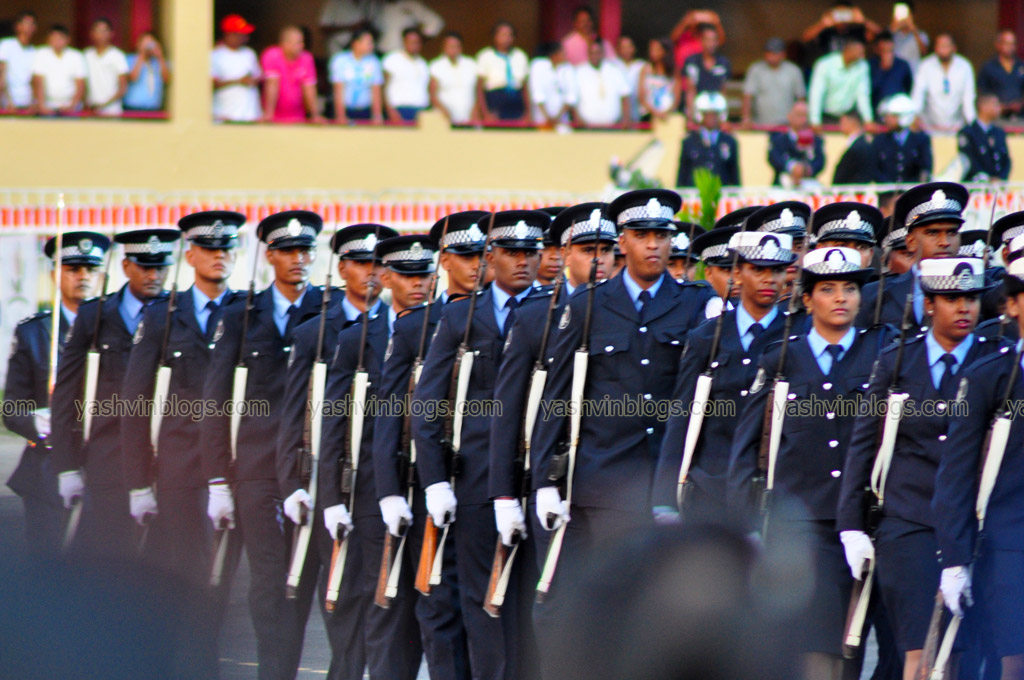 Police officers marching...