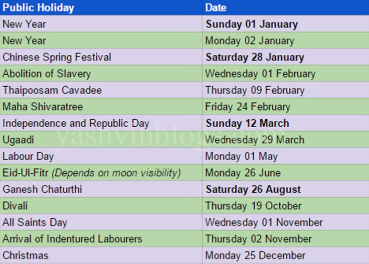 Public Holiday 2017 for Mauritius